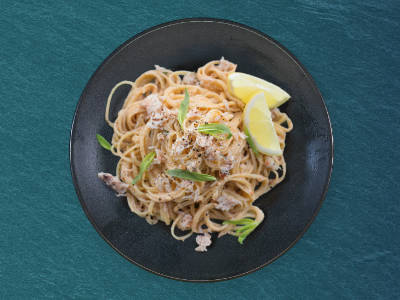 Crab Linguine on a plate, ready to serve.