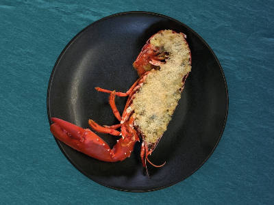 Lobster Thermidor on a plate, ready to serve.