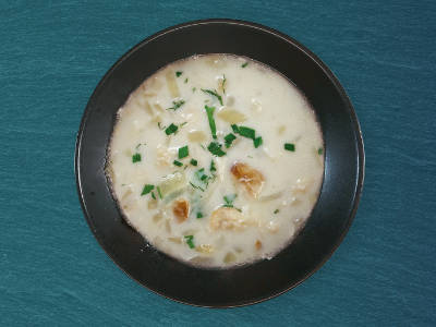Smoked Haddock Chowder in a bowl, ready to serve.